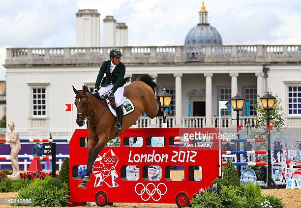Alvaro Affonso De Miranda Neto of Brazil riding Rahmannshof's Bogeno competes in the 2nd Qualifier of Individual Jumping on Day 9 of the London 2012...