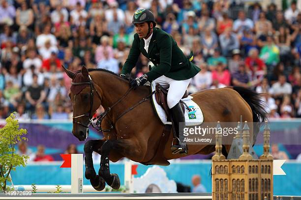 Alvaro Affonso de Miranda Neto of Brazil riding Rahmannshof's Bogeno competes in the Individual Jumping Equestrian on Day 12 of the London 2012...