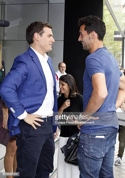 Alvaro Arbeloa and Albert Rivera attend the Real Madrid Cancer Charity Table to collect funds for the Spanish Cancer Association on May 5 2016 in...
