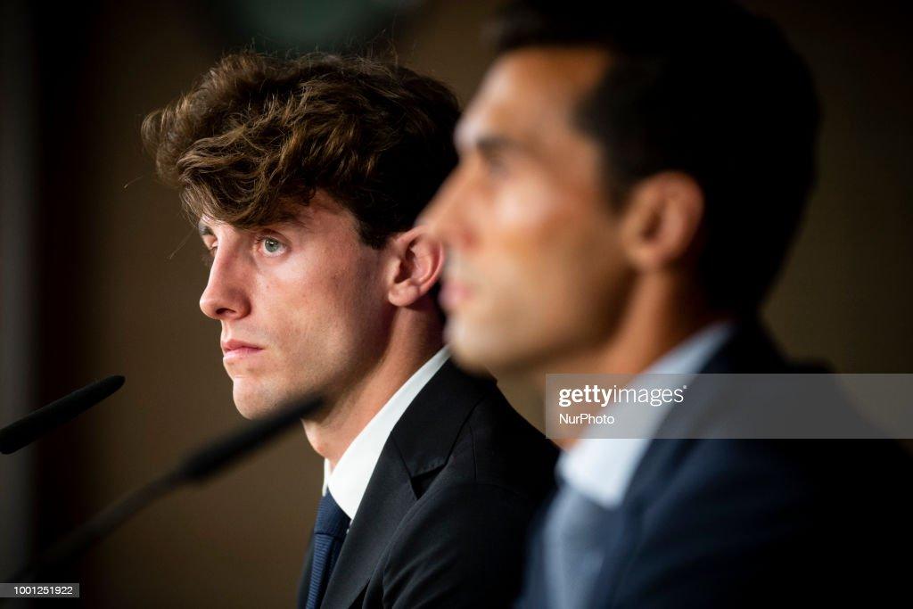 Alvaro Arbeloa and Alvaro Odriozola during the press conference of his presentation as new Real Madrid player at Santiago Bernabéu Stadium in Madrid, Spain. July 18, 2018.