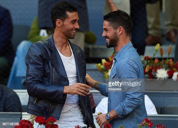 Alvaro Arbeloa and Isco Alarcon attend day six of the Mutua Madrid Open at La Caja Magica on May 10 2018 in Madrid Spain