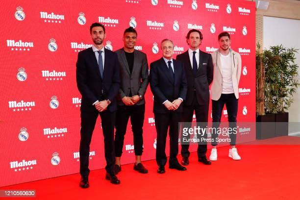 Alvaro Arbeloa Carlos Henrique Casemiro Florentino Perez president of Real Madrid Eduardo Petrossi CEO of Mahou San Miguel and Federico Valverde pose...