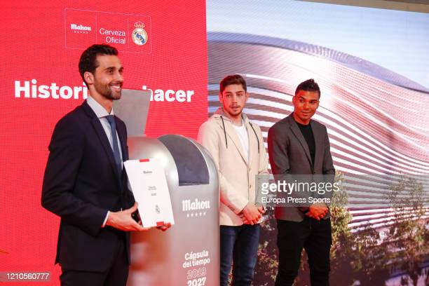 Alvaro Arbeloa Federico Valverde and Carlos Henrique Casemiro pose for photo during the signing of the sponsorship agreement between Real Madrid CF...