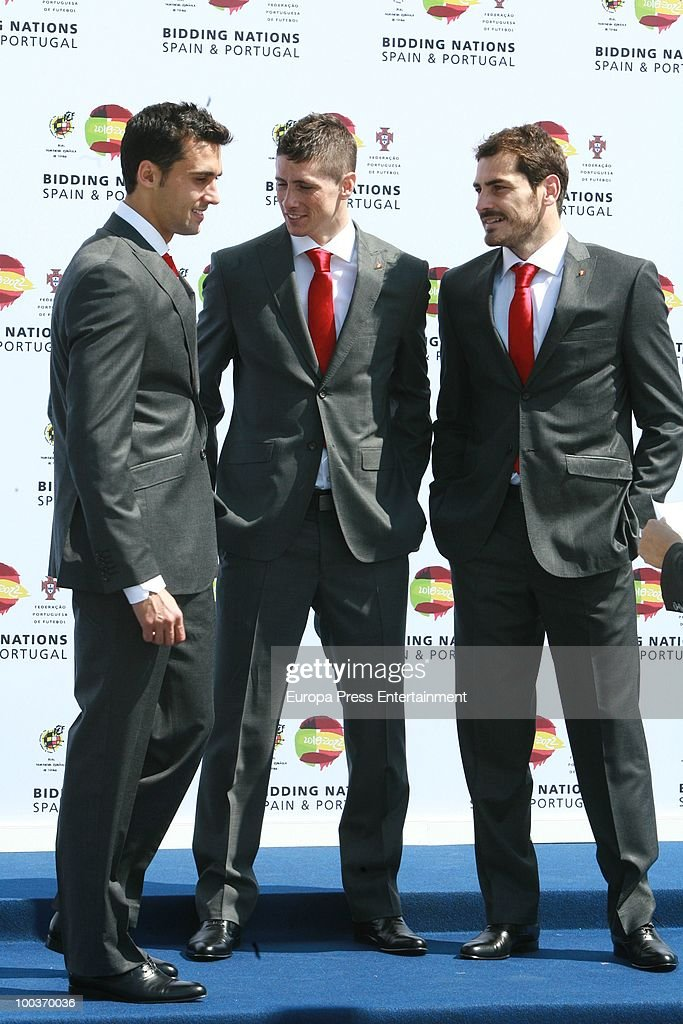 Alvaro Arbeloa, Fernando Torres and Iker Casillas attend the opening of the Spanish Football Federation Museum on May 24, 2010 in Madrid, Spain.