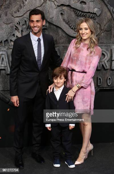 Alvaro Arbeloa his wife Carlota Ruiz and their son Raul Arbeloa attend the 'Jurassic World Fallen Kindom' premiere at Wizink Center on May 21 2018 in...