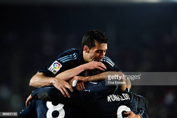 Alvaro Arbeloa of Real Madrid celebrates with his team mates the second goal of his team during the La Liga match between Xerez CD and Real Madrid at...