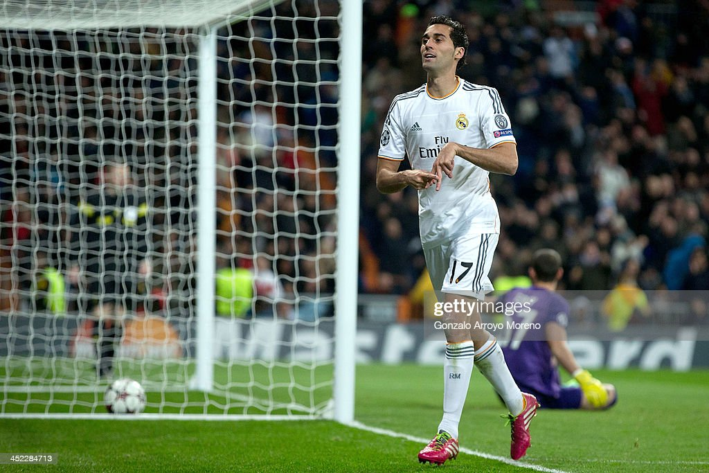 Alvaro Arbeloa of Real Madrid CF celebrates scoring their second goal during the UEFA Champions League group B match between Real Madrid CF and Galatasaray AS at Estadio Santiago Bernabeu on November 27, 2013 in Madrid, Spain.