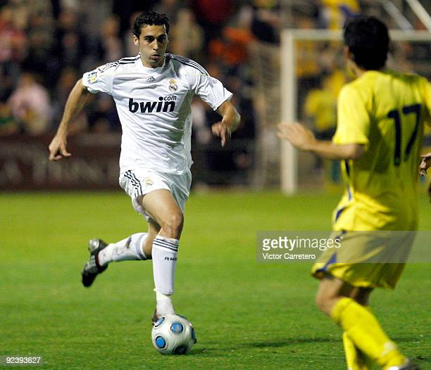 Alvaro Arbeloa of Real Madrid in action during the Copa del Rey match between AD Alcorcon and Real Madrid at Municipal de Santo Domingo on October...