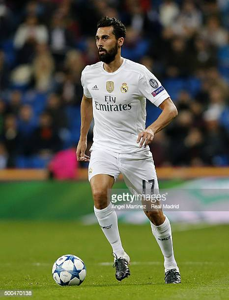 Alvaro Arbeloa of Real Madrid in action during the UEFA Champions League Group A match between Real Madrid and Malmo FF at Estadio Santiago Bernabeu...