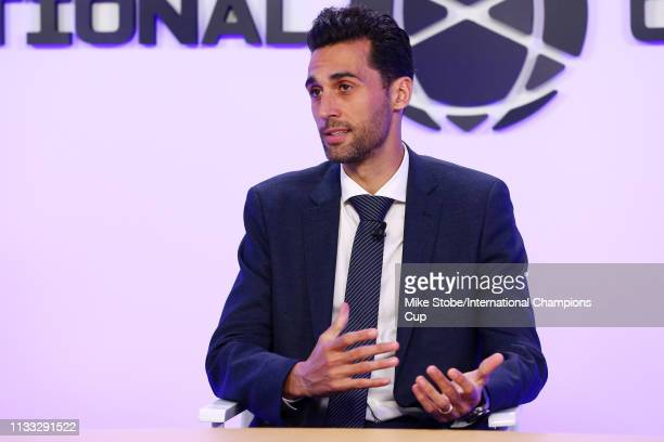 Alvaro Arbeloa of Real Madrid speaks during the 'El Derbi Madrileno' panel during day two of the International Champions Cup launch event at 107...