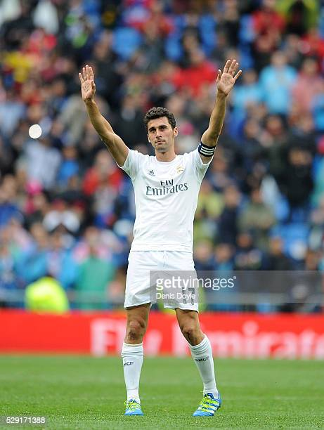Alvaro Arbeloa of Real Madrid waves to supporters after playing his last match for Real during the La Liga match between Real Madrid CF and Valencia...