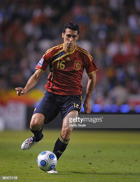 Alvaro Arbeloa of Spain passes the ball during the Group 5 FIFA2010 World Cup Qualifier match between Spain and Belgium at the Riazor stadium on...