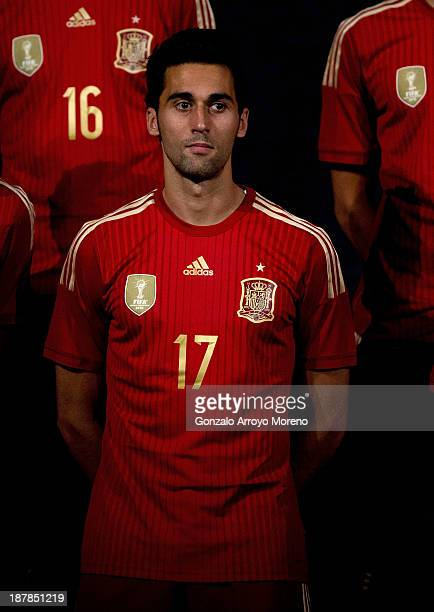 Alvaro Arbeloa of Spain poses for the Media during the Spanish Football Team Outfits Presentation at Compac Theatre on November 13, 2013 in Madrid,...