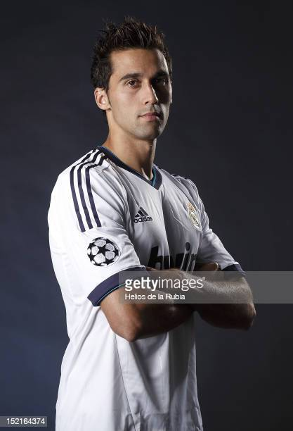 Alvaro Arbeloa poses during the Real Madrid CF presentation at Valdebebas training ground on September 13, 2012 in Madrid, Spain.