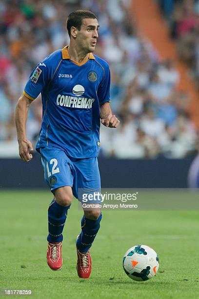 Alvaro Arroyo of Getafe CF controls the ball during the La Liga match between Real Madrid CF and Getafe CF at Estadio Santiago Bernabeu on September...