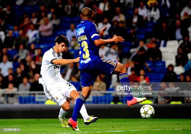 Alvaro B Morata of Real Madrid scores his second goal during the Santiago Bernabeu Trophy between Real Madrid and Millonarios FC at Estadio Santiago...
