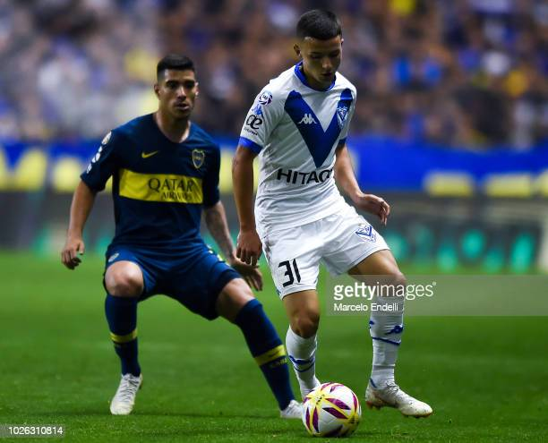 Alvaro Barreal of Velez Sarsfield kicks the ball during a match between Boca Juniors and Velez as part of Superliga Argentina 2018/19 at Estadio...