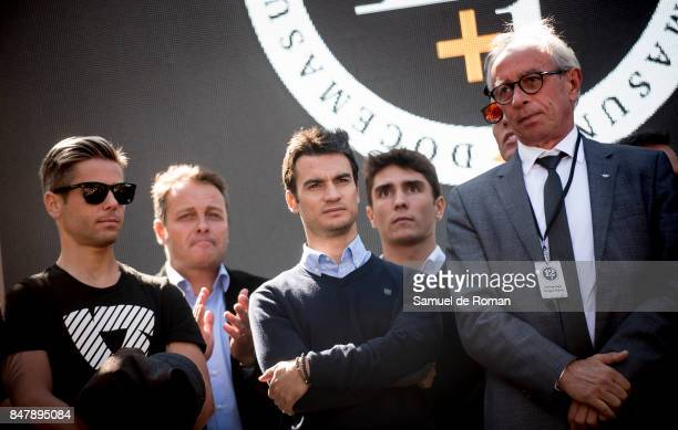 Alvaro Bautista Dani Pedrosa and Emilio Alzamora during the Funeral Tribute For Angel Nieto in Madrid on September 16 2017 in Madrid Spain