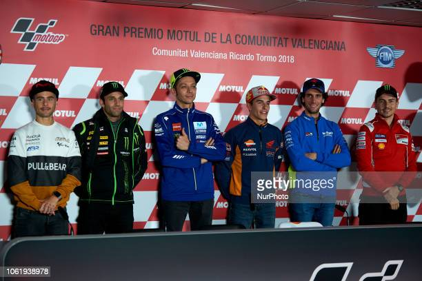 Alvaro Bautista of Spain and Angel Nieto Team Ducati Johann Zarco of France and Monster Yamaha Tech 3 Valentino Rossi of Italy Movistar Yamaha MotoGP...
