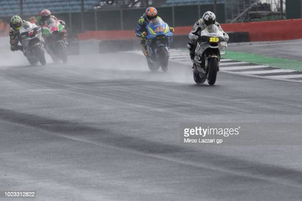 Alvaro Bautista of Spain and Angel Nieto Team leads the field during the qualfying practice during the MotoGp Of Great Britain Qualifying at...