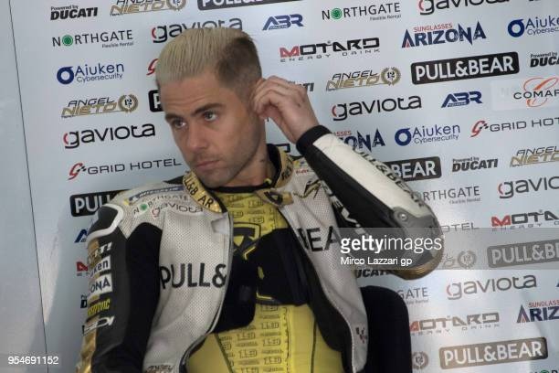 Alvaro Bautista of Spain and Angel Nieto Team look on in box during the MotoGp of Spain Free Practice at Circuito de Jerez on May 4 2018 in Jerez de...