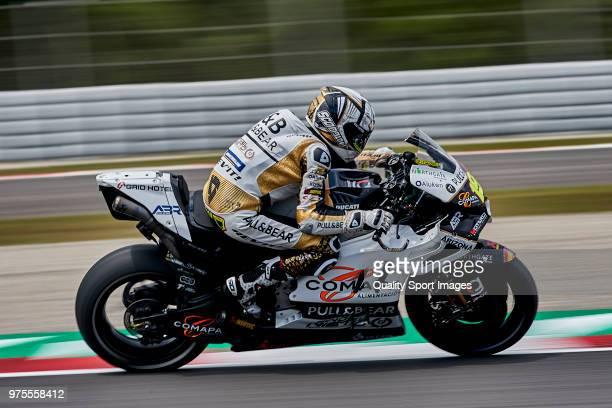 Alvaro Bautista of Spain and Angel Nieto Team rides during free practice for the MotoGP of Catalunya at Circuit de Catalunya on June 15 2018 in...