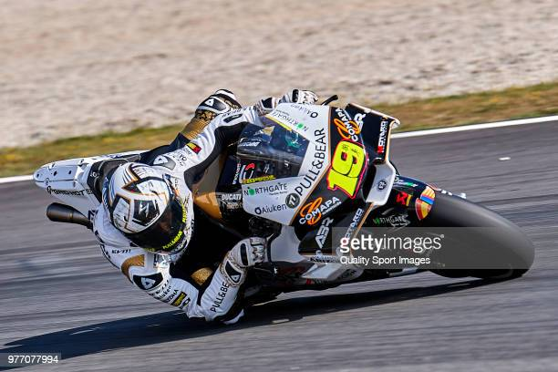 Alvaro Bautista of Spain and Angel Nieto Team rides during MotoGP free practice at Circuit de Catalunya on June 17 2018 in Montmelo Spain