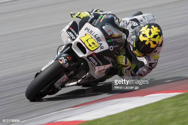Alvaro Bautista of Spain and Angel Nieto Team rounds the bend during the MotoGP test in Sepang at Sepang Circuit on January 30 2018 in Kuala Lumpur...