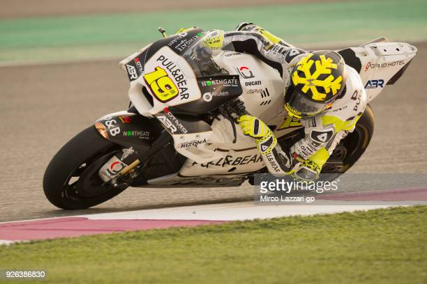 Alvaro Bautista of Spain and Angel Nieto Team rounds the bend during the Moto GP Testing Qatar at Losail Circuit on March 2 2018 in Doha Qatar
