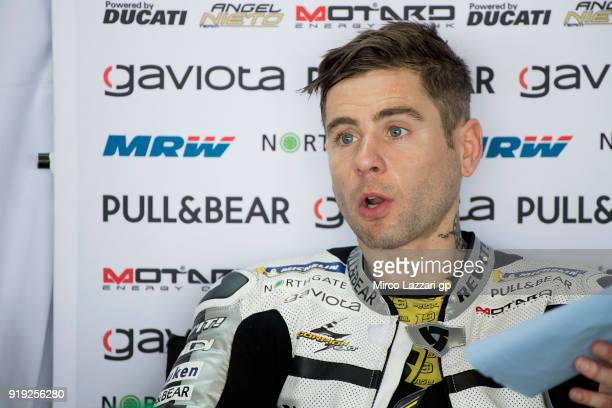 Alvaro Bautista of Spain and Angel Nieto Team speaks in box during the MotoGP Tests In Thailand on February 17 2018 in Buri Ram Thailand