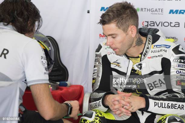 Alvaro Bautista of Spain and Angel Nieto Team speaks with mechanics in box during the MotoGP Tests In Thailand on February 17 2018 in Buri Ram...