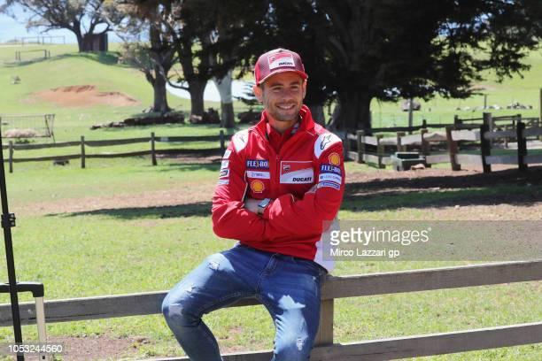Alvaro Bautista of Spain and Ducati Team smiles during the preevent 'MotoGP Riders visiting the Churchill Farm' during the MotoGP of Australia...