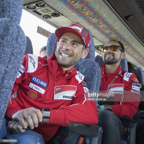 Alvaro Bautista of Spain and Ducati Team smiles in bus during the preevent 'MotoGP Riders visiting the Churchill Farm' during the MotoGP of Australia...