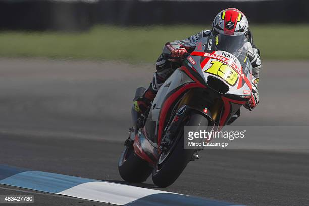 Alvaro Bautista of Spain and Factory Aprilia Gresini heads down a straight during the MotoGp Red Bull US Indianapolis Grand Prix Qualifying at...