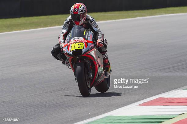Alvaro Bautista of Spain and Factory Aprilia Gresini heads heads down a straight during the Michelin tires test during the MotoGp Tests At Mugello at...