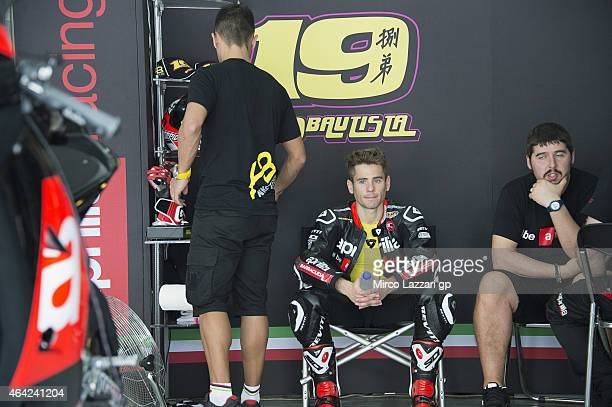 Alvaro Bautista of Spain and Factory Aprilia Gresini looks on in box during the MotoGP Tests in Sepang Day One at Sepang Circuit on February 23 2015...