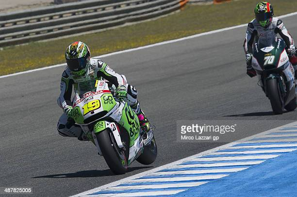 Alvaro Bautista of Spain and GoFun Honda Gresini heads down a straight during the MotoGp of Spain Free Practice at Circuito de Jerez on May 2 2014 in...