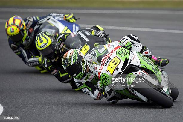 Alvaro Bautista of Spain and GoFun Honda Gresini leads the field during the MotoGP race ahead of the Australian MotoGP which is round 16 of the...