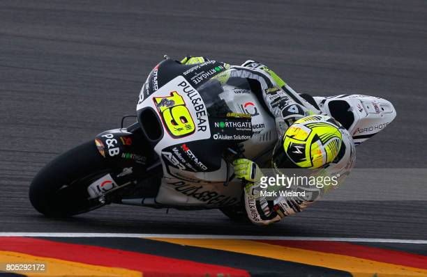 Alvaro Bautista of Spain and Pull Bear Aspar Team rides in qualifying during the MotoGP of Germany at Sachsenring Circuit on July 1 2017 in...