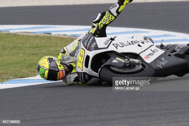 Alvaro Bautista of Spain and PullBear Aspar Team crashed out during 2017 MotoGP preseason testing at Phillip Island Grand Prix Circuit on February 17...