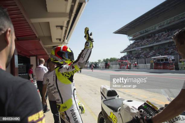 Alvaro Bautista of Spain and PullBear Aspar Team greets the fans during the MotoGp of Catalunya Qualifying at Circuit de Catalunya on June 10 2017 in...