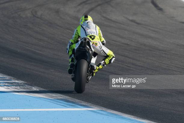 Alvaro Bautista of Spain and PullBear Aspar Team heads down a straight during the MotoGP race during the MotoGp of Spain Race at Circuito de Jerez on...