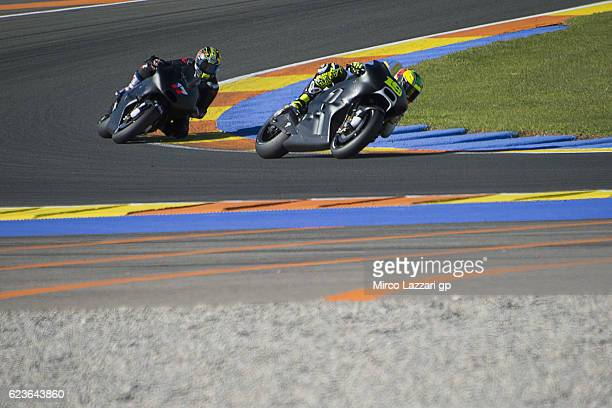Alvaro Bautista of Spain and PullBear Aspar Team leads Karel Abraham of Czech Republic and PullBear Aspar Team during the MotoGp Tests In Valencia at...