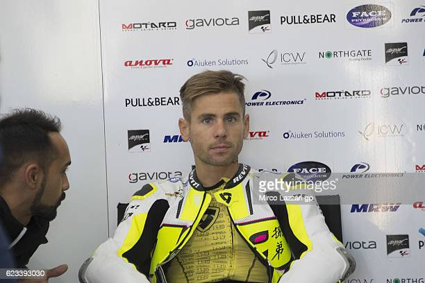 Alvaro Bautista of Spain and PullBear Aspar Team looks on in box during the MotoGp Tests In Valencia at Ricardo Tormo Circuit on November 15 2016 in...