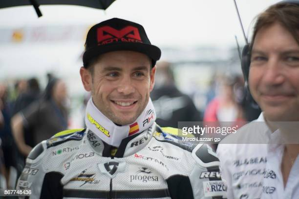 Alvaro Bautista of Spain and PullBear Aspar Team prepares to start on the grid during the MotoGP race during the MotoGP Of Malaysia Race at Sepang...