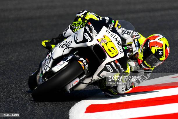 Alvaro Bautista of Spain and PullBear Aspar Team rides during a free practice ahead of qualifying at Circuit de Catalunya on June 10 2017 in Montmelo...