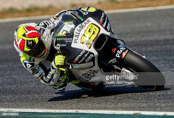 Alvaro Bautista of Spain and PullBear Aspar Team rounds the bend during free practice for the MotoGP of Catalunya at Circuit de Catalunya on June 10...