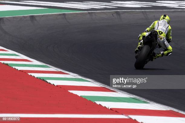 Alvaro Bautista of Spain and PullBear Aspar Team rounds the bend during the MotoGp of Italy Qualifying at Mugello Circuit on June 3 2017 in Scarperia...
