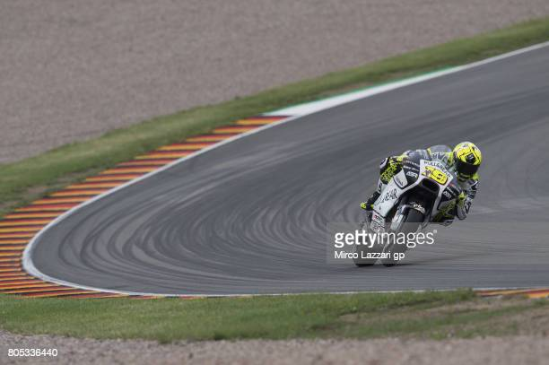 Alvaro Bautista of Spain and PullBear Aspar Team rounds the bend during the MotoGp of Germany Qualifying at Sachsenring Circuit on July 1 2017 in...