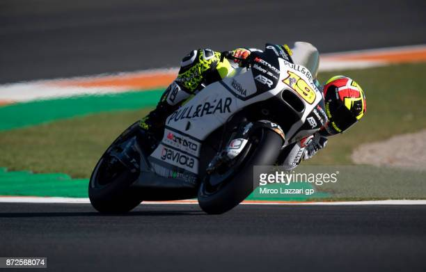 Alvaro Bautista of Spain and PullBear Aspar Team rounds the bend during the Comunitat Valenciana Grand Prix Moto GP Previews at Comunitat Valenciana...